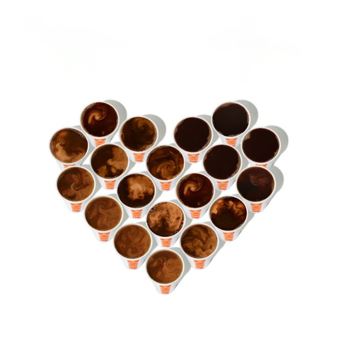 dunkin donots coffee cups in heart shape