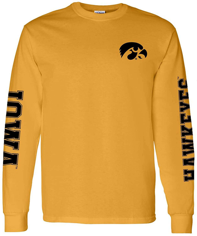 Iowa Hawkeyes Gold NCAA Double Sleeve Print Long-Sleeve T-Shirt
