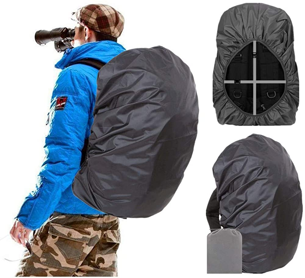 Man uses Joy Walker Waterproof Backpack Rain Cover; best backpack rain covers
