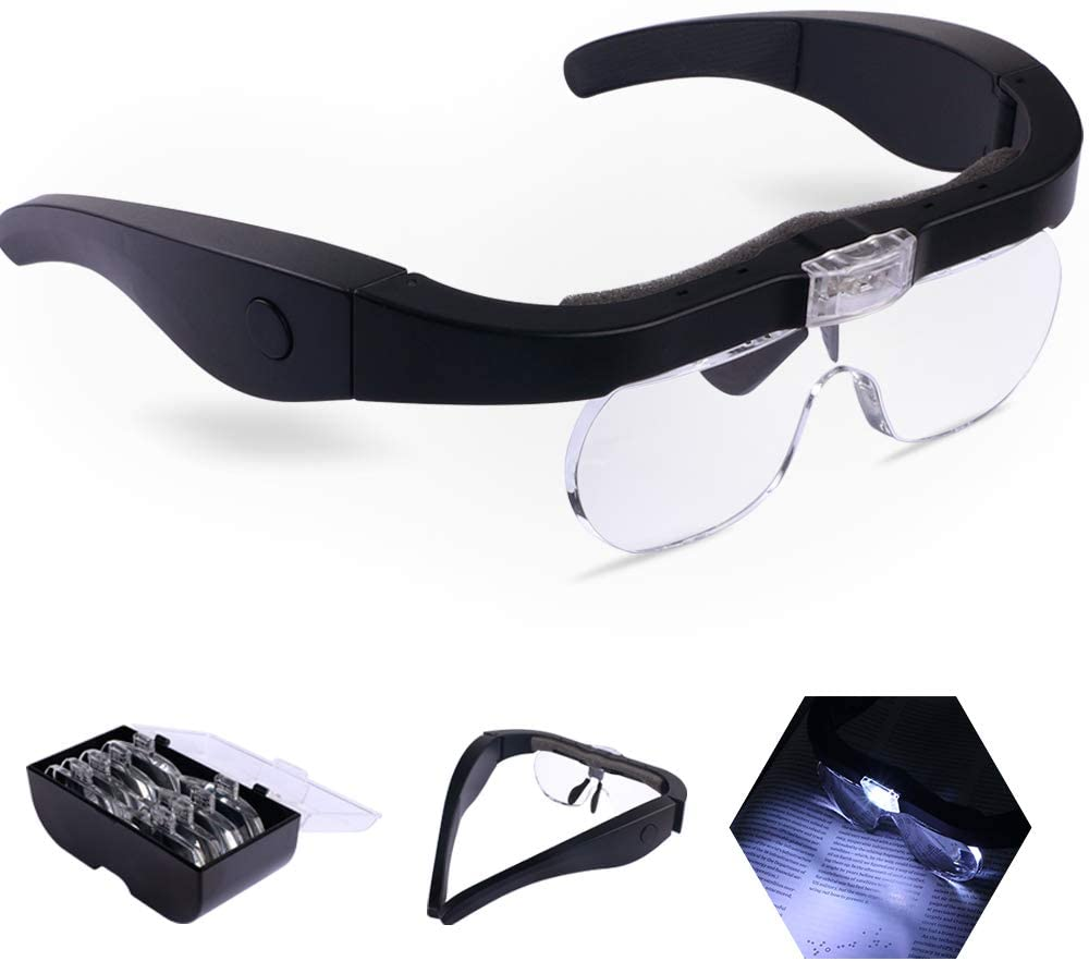 Juoifip Head Magnifier Glasses with interchangeable lens with 1.5x, 2.5x, 3.5x and 5x magnification