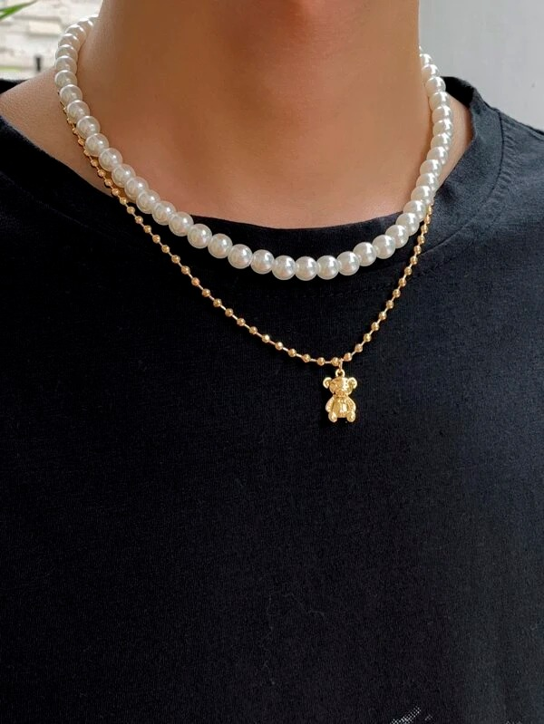 SHEIN-Men-Bear-Charm-Faux-Pearl-Beaded-Layered-Necklace