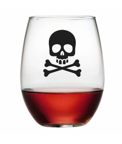Susquehanna Glass Skull and Crossbones 21 oz. Stemless Wine Glass(Set of 4)