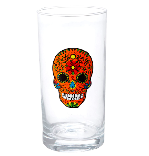 Circleware Halloween Sugar Skull High Ball Glass (Set of 4)