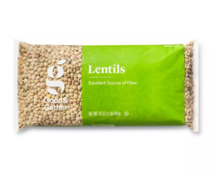 good & gather dry lentils, meat alternatives