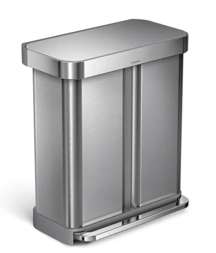 Simplehuman 58-Liter Brushed Stainless Steel Dual Compartment Recycling Step-On Trash Can