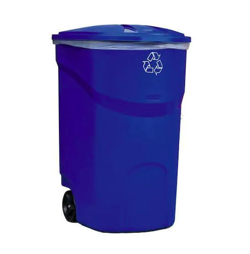 Rubbermaid 45-Gallon Roughneck Blue Wheeled Recycling Container
