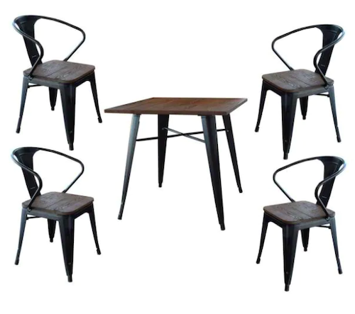 AmeriHome Loft Style Glossy Black Dining Set with Wooden Tops