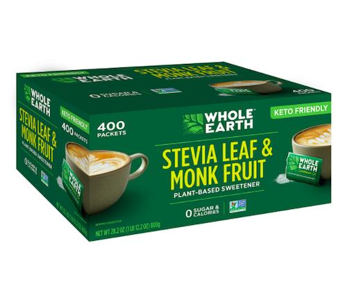 WHOLE EARTH Stevia & Monk Fruit Plant-Based Sweetener, 400 Packets