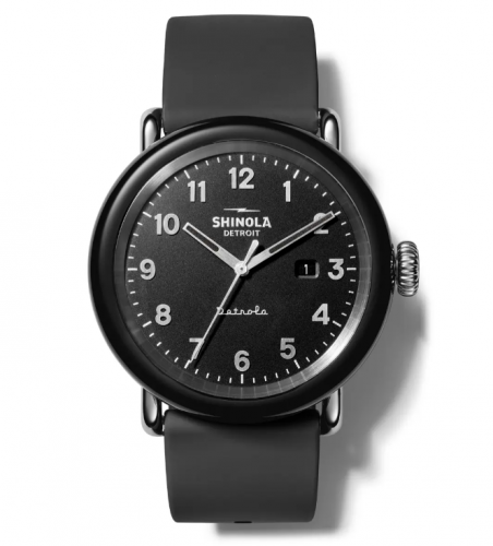 Shinola Detrola Silicone Strap Black Watch