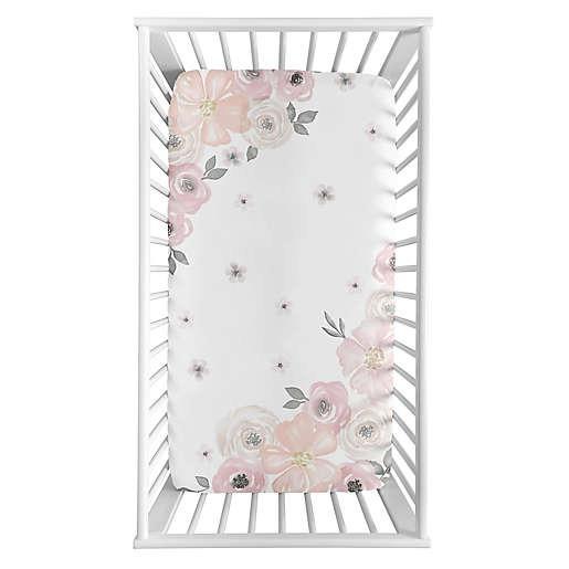 Sweet Jojo Designs Watercolor Floral Corner Floral Crib Sheet
