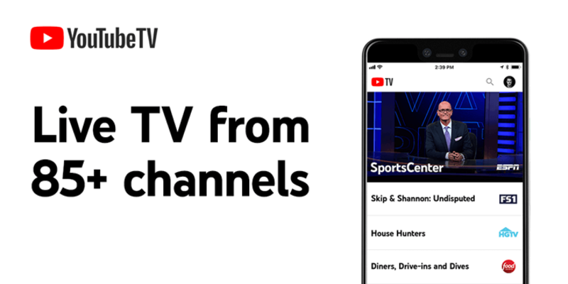 YouTube TV advert showing 85+ channels