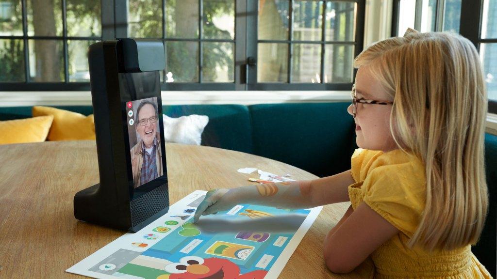 child using amazon glow device
