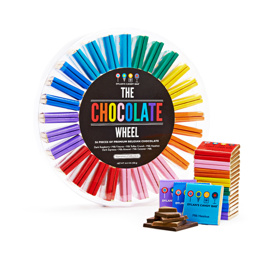Chocolate squares in colorful packaging