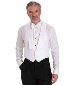 white cotton pique tuxedo vest, wedding attire for men