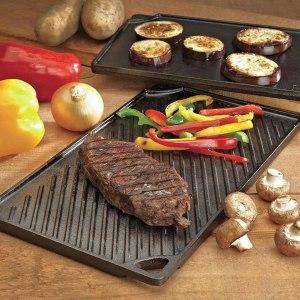 lodge pre-seasoned cast iron reversible grill, cookware deals