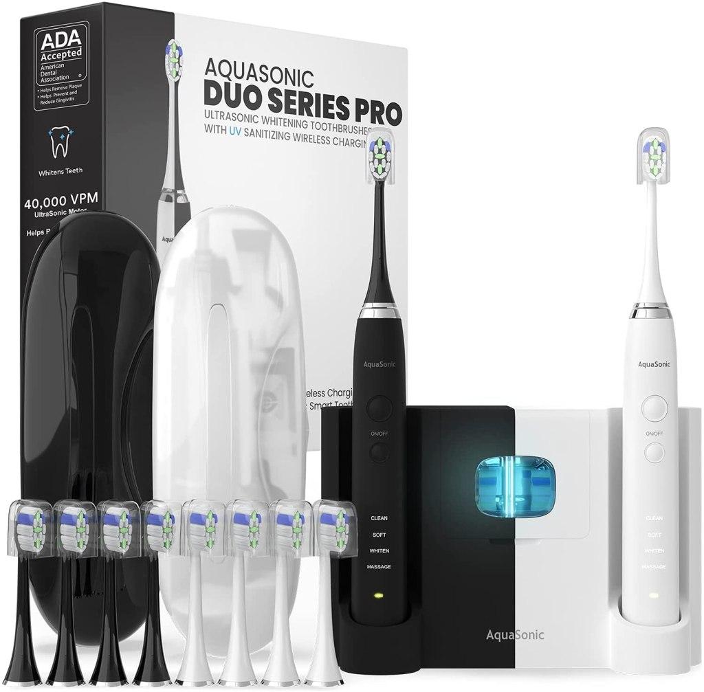 AquaSonic DUO PRO – Ultra Whitening 40,000 VPM Electric Smart ToothBrushes