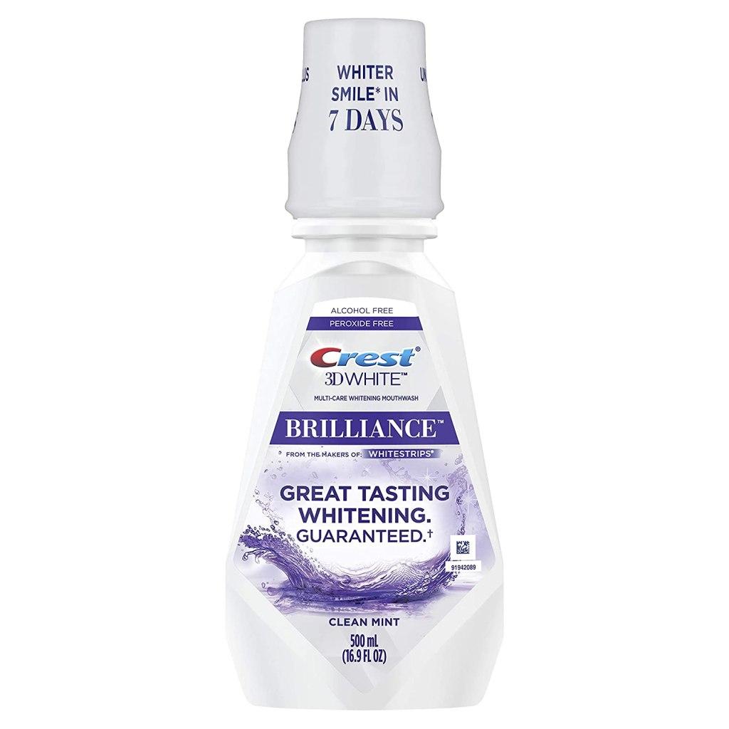 Crest 3D White Brilliance Alcohol-Free Whitening Mouthwash, Clean Mint