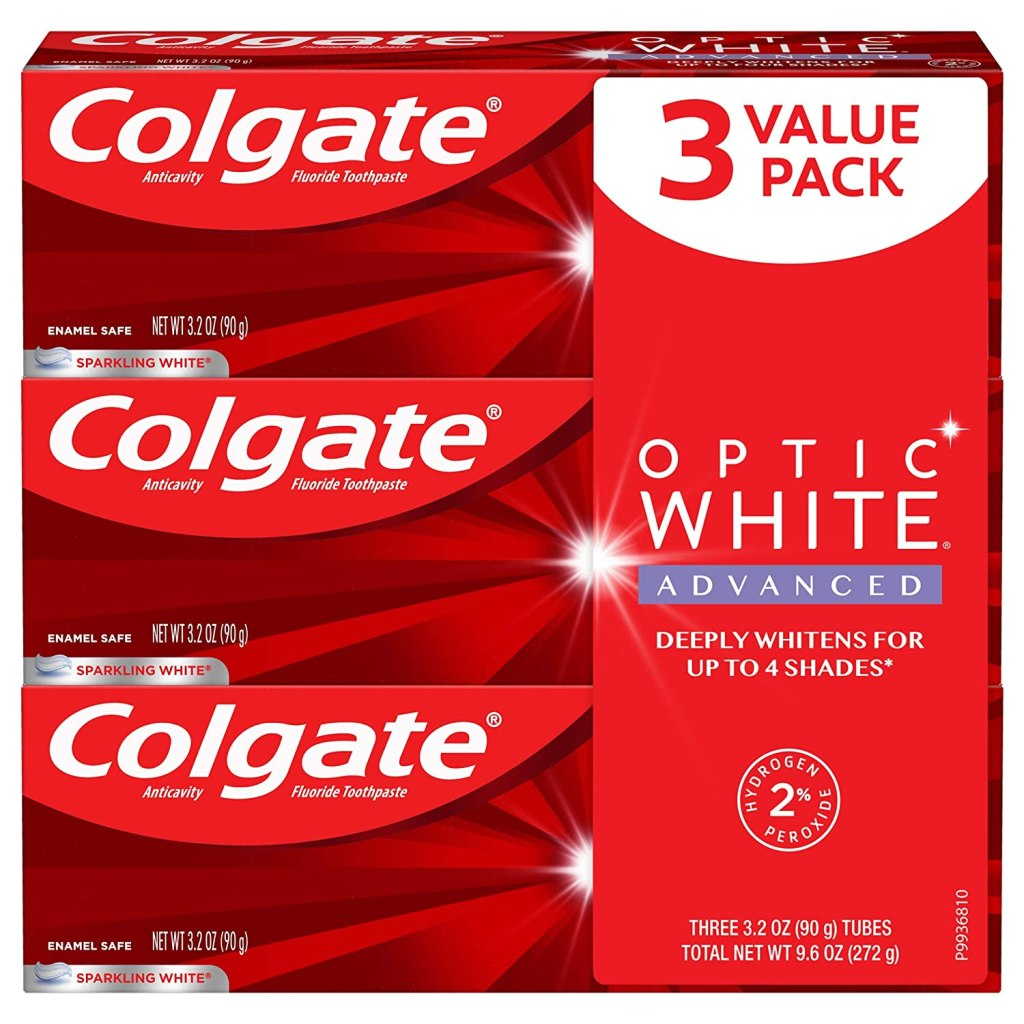 Colgate Optic White Advanced Teeth Whitening Toothpaste with Fluoride, 2% Hydrogen Peroxide, Sparkling White