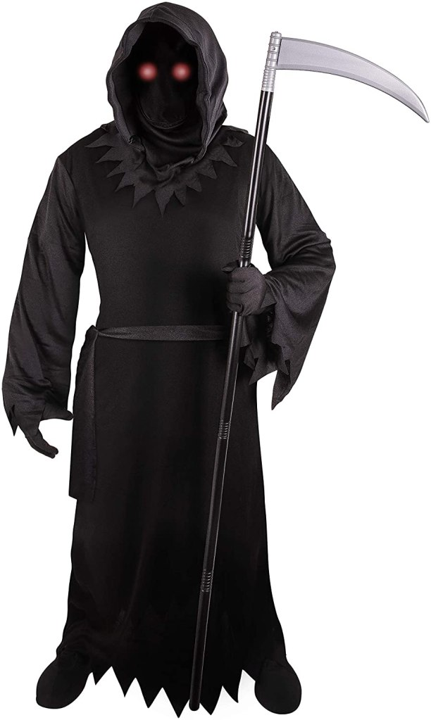 Grim Reaper Costume Adult with Glowing Red Eyes