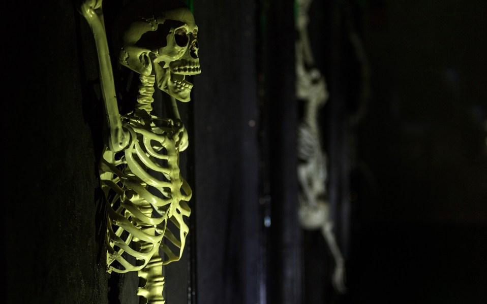 Green lit tortured skeleton hanging on