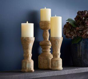 ava natural wood pillar candle holder