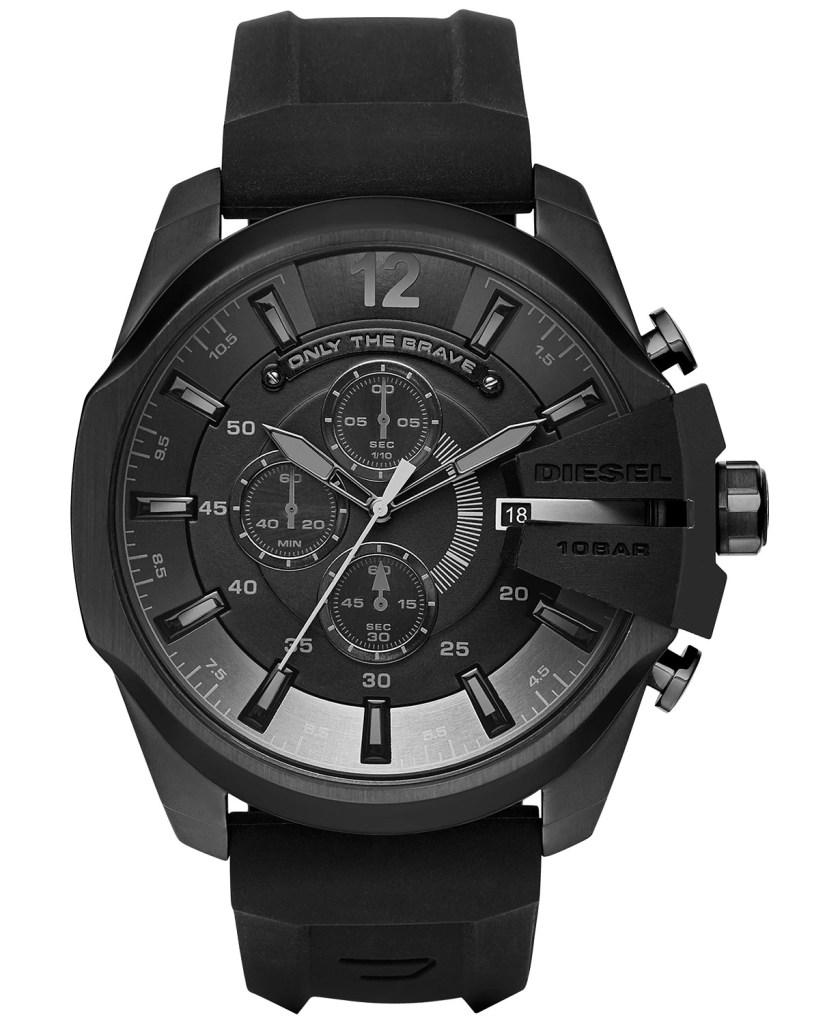 Diesel-Chronograph-Mega-Chief-Black-Silicone-Strap-Watch-51X59mm