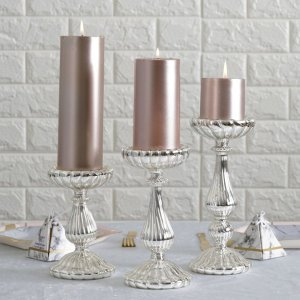 efavormart silver mercury glass pillar candle holders