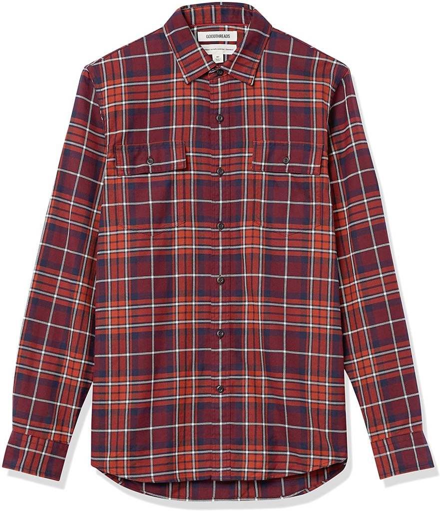 Goodthreads Red Plaid Twill Shirt BEST CLASSIC, Best Casual Shirts for Men