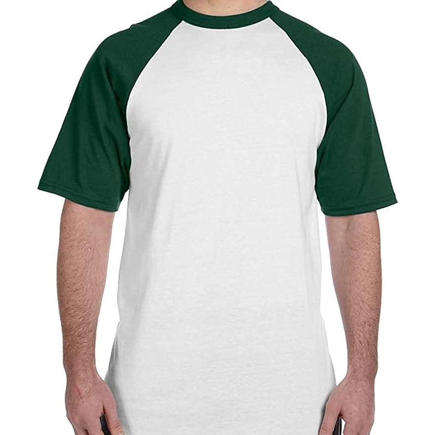 Green Raglan Sleeve Baseball T-Shirt
