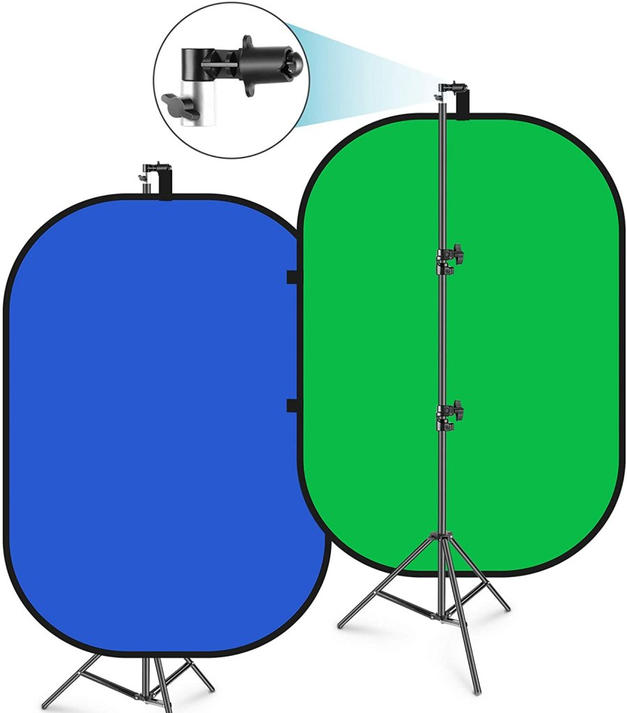 Neewer 5'x7' Chromakey Blue-Green Collapsible Backdrop with Support Stand Kit
