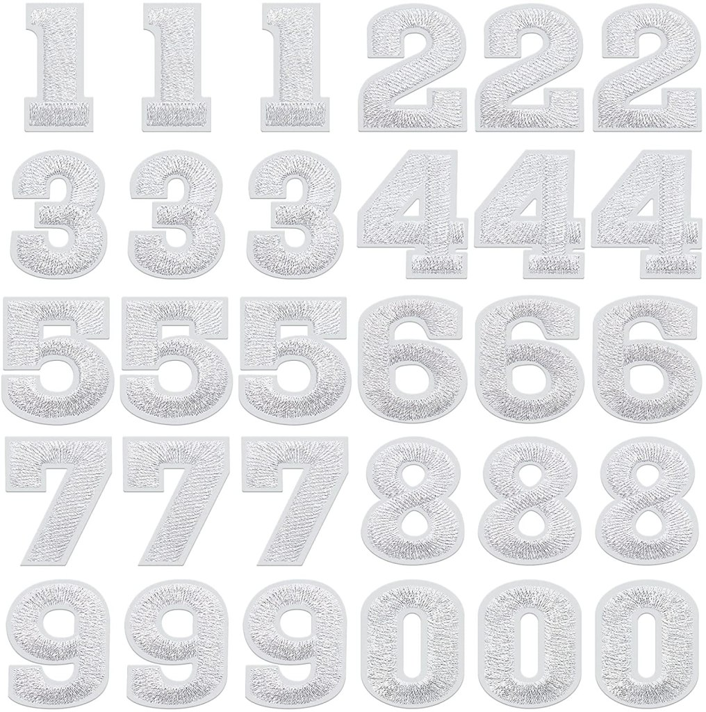 White Iron-On Numbers Patches 0-9