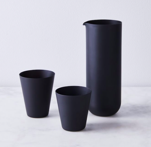 SGHR Sugahara Hand Blown Japanese Frosted Black Tumblers & Carafe