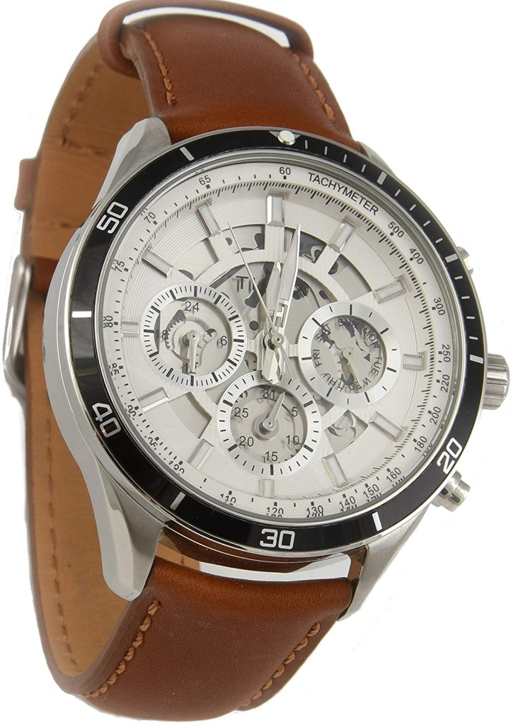 Timex-Mens-Tachymeter-Chronograph-Watch-46MM-Brown-Strap-Silver-dial-TW2T23400