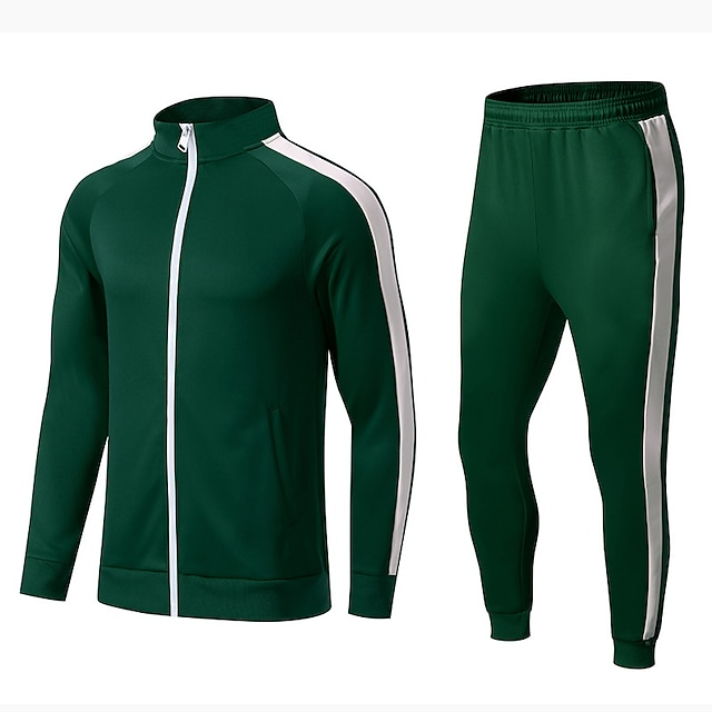 Green Full Zip Two-Piece Striped Tracksuit