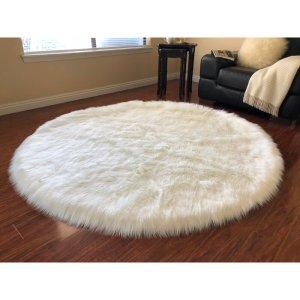 union rustic white fur circle rug