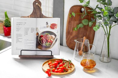 sticky fingers in the kitchen? try these cookbook stands for a convenient and hands-free way to view recipes