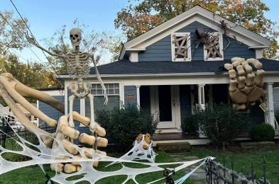 giant skeleton halloween display